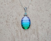Rainbow Lampwork Pendant in Sea Glass with Sterling Silver