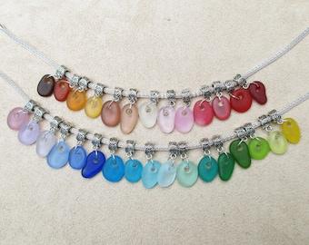 NEW -- Sea Glass Lampwork Dangle Bead for European Charm Bracelet Handmade