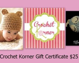 Crochet Korner Gift Certificate Perfect Christmas Gift Sent Online Or By Mail Five Ten Fifteen Twenty Twentyfive Thirty Fourty Fifty Seventy