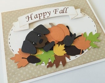 Dog Greeting Card, Dachshund card, Happy Fall Greeting Card