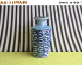 Summersale Vintage East German Pottery Light Blue Vase by VEB Haldensleben