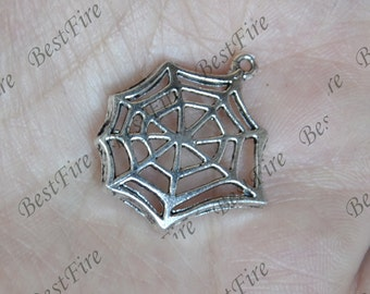 12 pcs Charms Large Spiderweb Charms Antique Silver Tone, Spiderweb  pendant, Spiderweb  beads findings