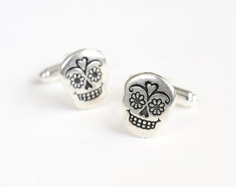Sugar Skull Cuff Links, Halloween Cufflinks