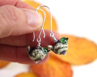 Fat Glass Bird Earrings, Sterling Silver, Lampwork Beads, Amber & Silvered Ivory Glass, Long Earrings, Handmade in Sweden