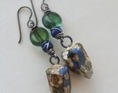 Blue Flower Earring, Ceramic Art Bead, Lapis Lazuli, Semi Precious Stone Earrings