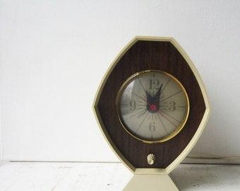 ON SALE Vintage Mid Century Analog Alarm Clock - with Light - Brown and Bigelow Remembrance