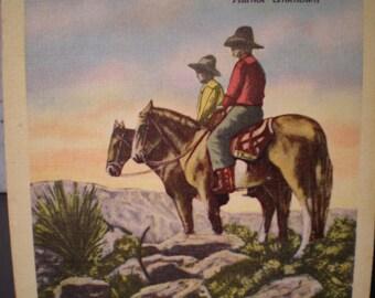 Vintage Mid Century Unused Postcard  Poem - Cowboys' Prayer