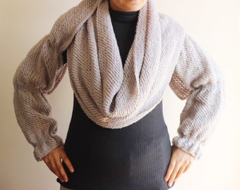 Knitting Pattern For Scarf With Sleeves : KNITTING PATTERN Scarf with Sleeves Celine Scarf with