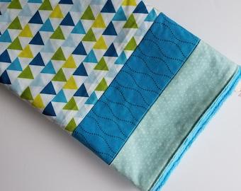Blue and green geometric triangle blanket, minky dot back