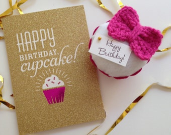 Crocheted Bow Felt Cupcake (Choose: Pink, Gray, or Teal) - Home Decor, Pin Cushion, Gifts, Favors, Hello Kitty, Parties, Birthdays