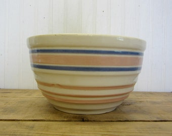 "Vintage 8"" Pink and Blue Banded Striped Creamy Off White Bowl McCoy USA Farmhouse Decor"