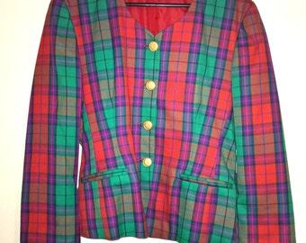 Vintage 1980s red, green and purple tartan Jacket Blazer