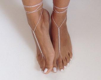Barefoot Sandals bead , crochet, whites, wedding , Bikini , Women , Beach , Bridal Shoes , Sandals , Bridal Jewelry ,shoes