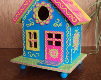 Whimsical Handpainted Birdhouse/ Blue with Pink Roof/Home Decor/ Floral like Designs/Cottage Style/Doodles and Dots