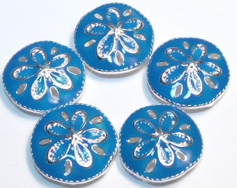 Five 2 Hole Slider Or Spacer Beads Silver Plated Blue Enamel Sand Dollar Marine Life Sea Shore Nautical Ocean Beach Beads