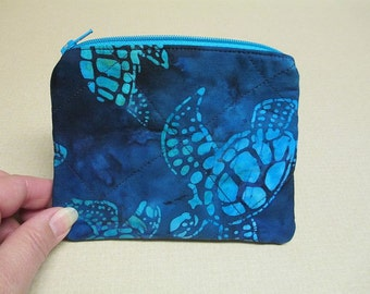 Batik Turtle Coin Purse, quilted