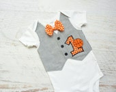 Personalized First Birthday Basketball Tuxedo Bodysuit Vest with Matching Bow Tie