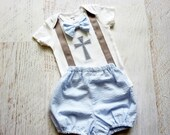 Personalized Baby Boy Baptism, Christening, and Dedication Suspender Outfit with Matching Removable Bow Tie with Diaper Cover