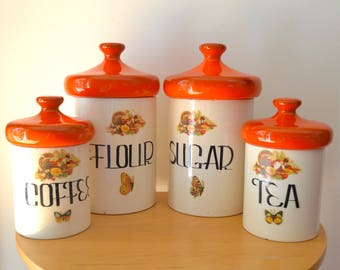 Mid Century Mod Orange Ceramic Canisters