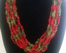 Red and Green, MultiStrand, Hand Crochet, Lightweight Necklace, Trellis Yarn Necklace, Ribbon, Ribbon Necklace, Ladder Yarn, Fiber Necklace