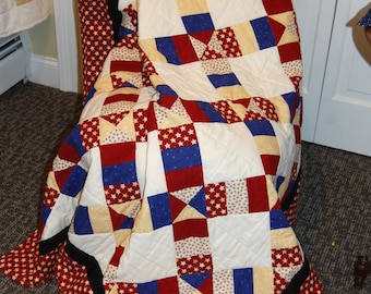 Americana Throw Quilt, Stars and Stripes, Hand Quilted