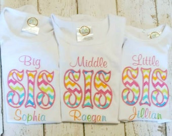 Big, Middle or Little Sister Embroidered Personalized Shirt or Bodysuit