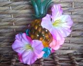 Pink and Aqua Carmen Miranda Pineapple Fruit Hair Clip, Hawaiian PinUp Tropical Tiki Flower Fascinator by Viva Dulce Marina