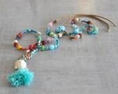 Bohemian Buddha Necklace,  Gypsy Long Necklace,  Hippie Beaded Necklace,  Boho Tassel Necklace,  Free Shipping