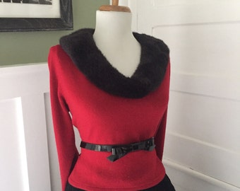 Sexy Snug LIPSTICK Red Vintage Knit Long Sleeve Sweater Top w Black Faux Fur Trim Collar