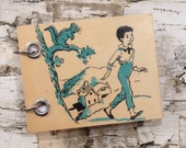Recycled Notebook - Small Refillable Notepad - Squirrel - Boy Going for a Stroll - Upcycled Children's Book