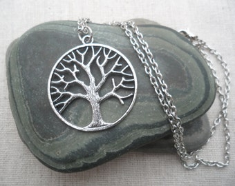 Silver Tree Necklace Tree of Life Silver Necklace Tree Jewelry Simple Everyday Silver Necklace