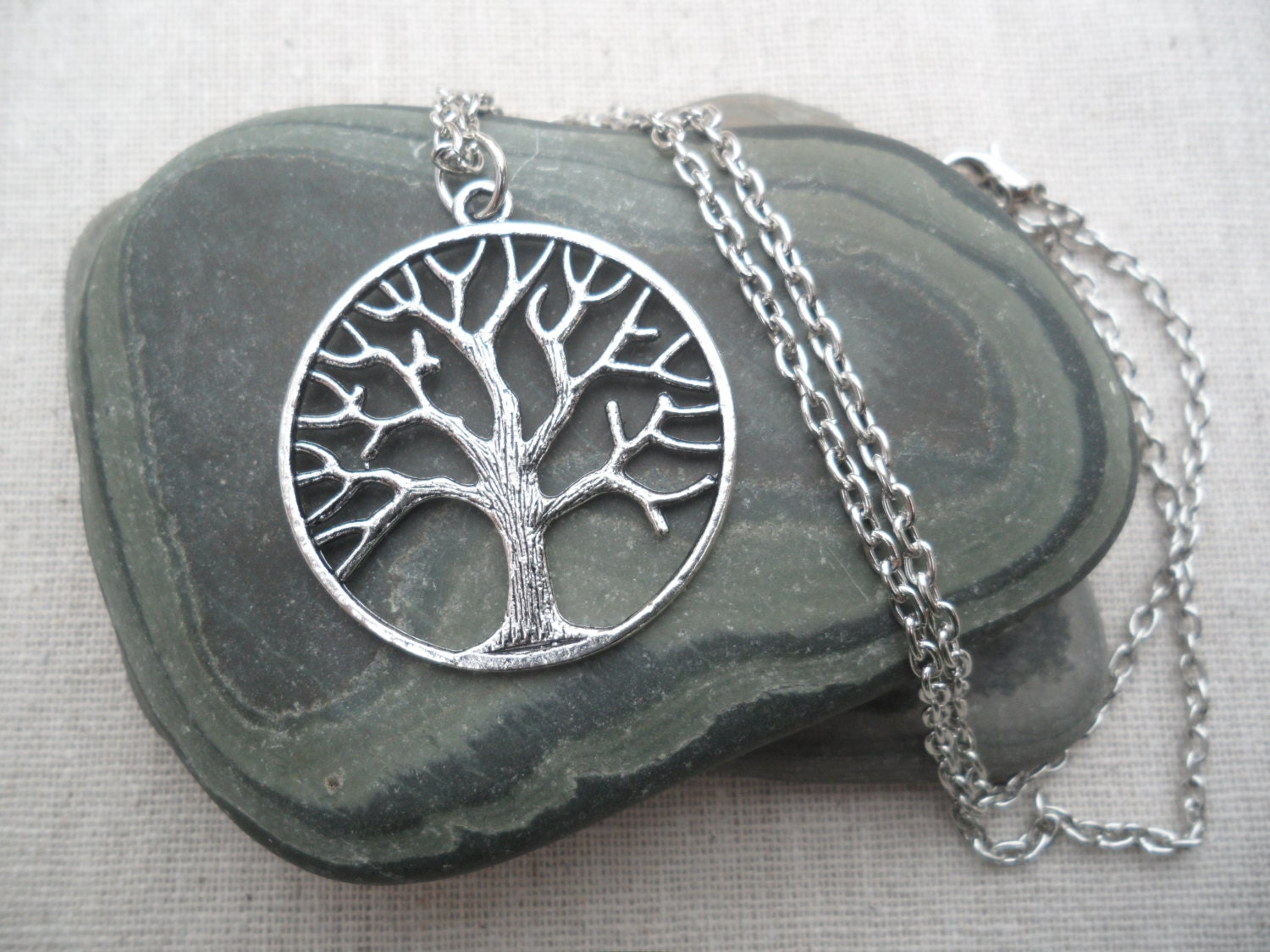 Silver tree necklace tree of life silver necklace tree jewelry for What is the meaning of the tree of life jewelry