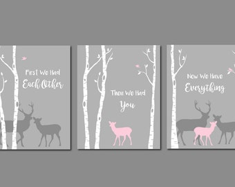 Woodland Nursery Art, First We Had You Quote, Pink and Grey Nursery, Baby Girl Room, Deer Nursery Wall Art, Woodland Nursery, Deer Art