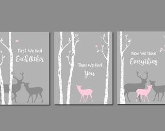 Deer Nursery Art, First We Had You Quote, Pink and Grey Nursery, Baby Girl Room, Girl Nursery Wall Art, Woodland Nursery, Modern Wall Art