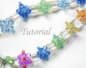 Crystal Bicones Bracelet Tutorial Pattern - Beaded Chain of Flowers Bracelet Pattern,Easy Simple Bracelet Pattern, Flowers Bracelet Tutorial