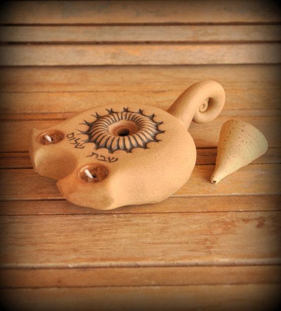 Candelabro shabat tradición cerámica candil spirtual por claykedem