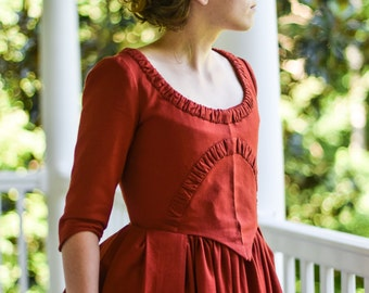 American Revolution Era Day Dress, 18th Century Reenactment Dress, 1700s Red Colonial Linen Gown