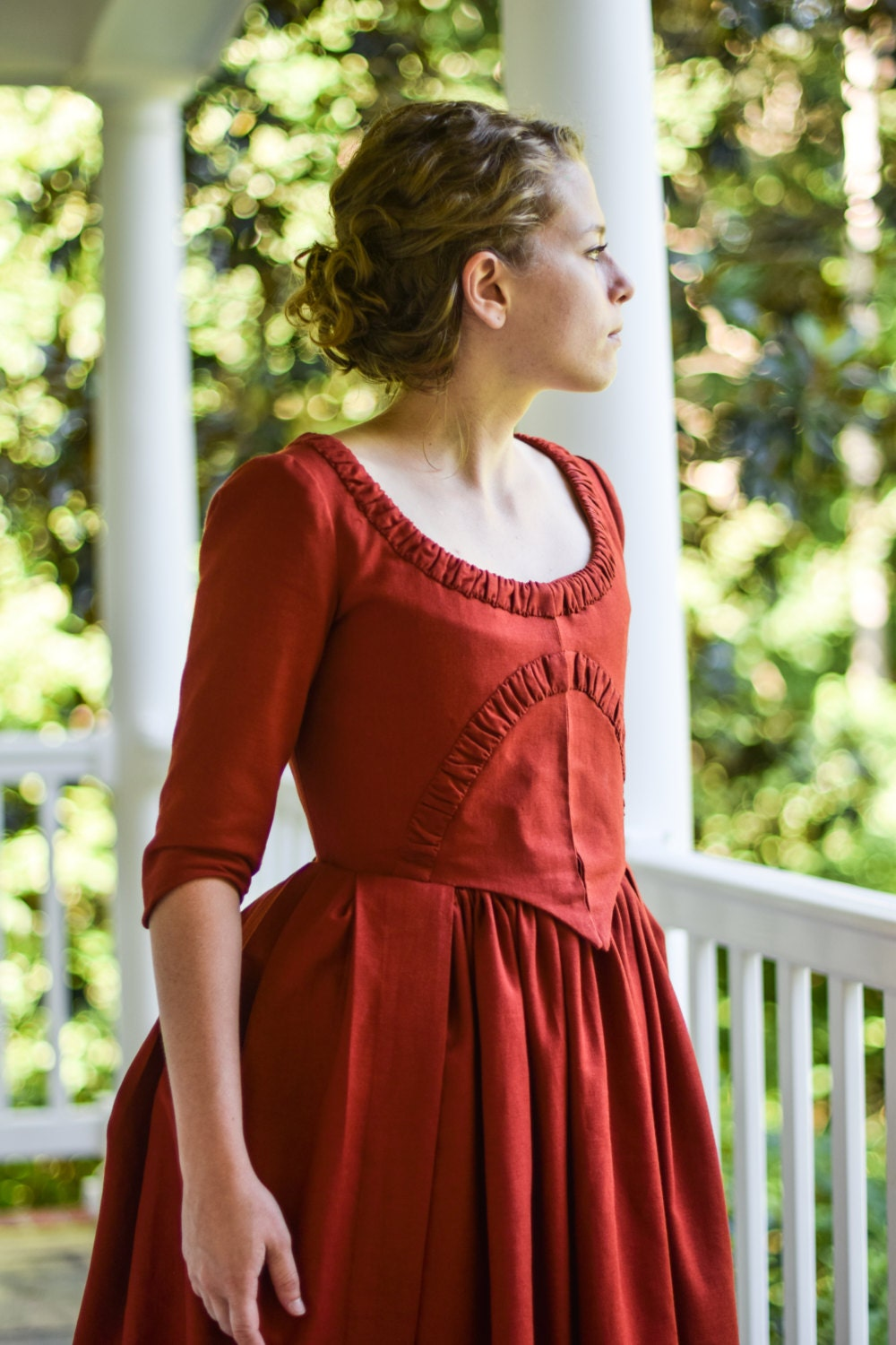 Christmas gown ideas 18th - Colonial Costume 18th Century Reenactment Gown American Revolution 1700s Red Colonial Linen Gown