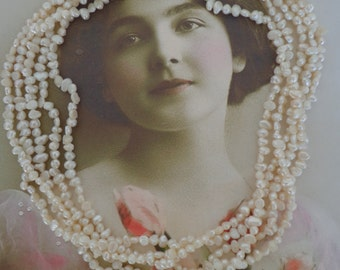 """Vintage Multi Strand White Freshwater Pearl Necklace Toursade New Old Stock w/ Tag Attached, 17 1/2"""" Long"""