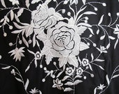 Flamenco Black shawl ( pico )  with Ivory embroidered design