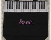PIANO MUSIC lesson book bag back to school children personalized black canvas keyboard tote bag musician kids birthday recital gift idea