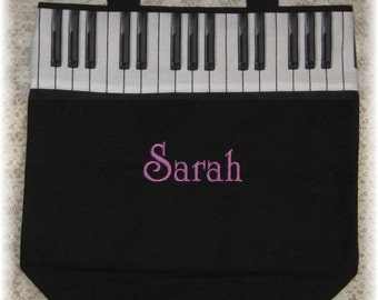 PIANO tote bag, recital gift, lesson book bag, music bag embroidered black canvas musician kids birthday personalized