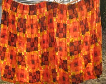 REDUCED Brilliant set of 2 mod vintage cotton bark cloth curtain panels atomic blurred squares mid century mod orange yellow brown