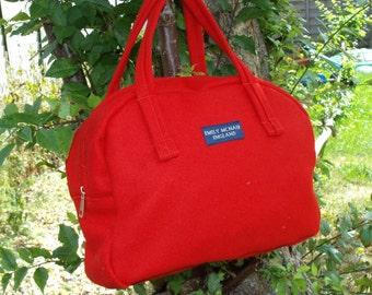 Bianca Handbag in Scarlet Red Wool Pilot Cloth Shoulder Bag Ready to Ship