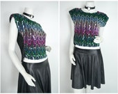 80s 90s zig zag chevron bedazzled multicolored purple green short cap sleeved Sequin shirt