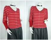 80s V neck red white striped poofy big sleeve long sleeved shirt