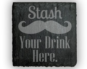 Coasters Slate Square Set of 4 - 2406 Stash Your Drink Here