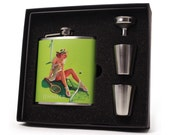 Flask with Vintage Pin Up Girl Design, Tennis Pro Flask Gift Set