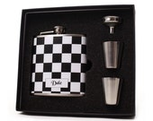 Flask with Shot Cups, Funnel and Gift Box // Checkered Flag // Personalized