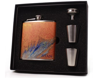 Personalized Flask // Personalized Frosted Glass Flask Gift Box